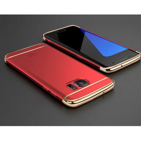 Handy Hülle Schutz Case für Samsung Galaxy J3 2017 Bumper 3 in 1 Cover Chrom Rot – Bild 2