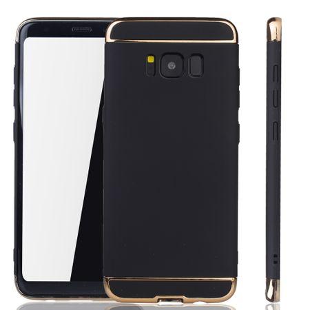 Handy Hülle Schutz Case für Samsung Galaxy S8 Bumper 3 in 1 Cover Chrom Schwarz – Bild 1