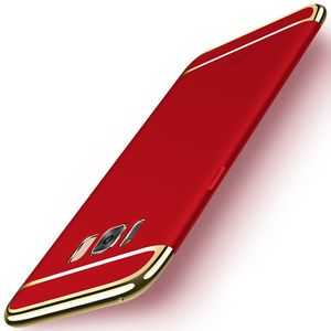Handy Hülle Schutz Case für Samsung Galaxy S8+ Bumper 3 in 1 Cover Chrom Rot