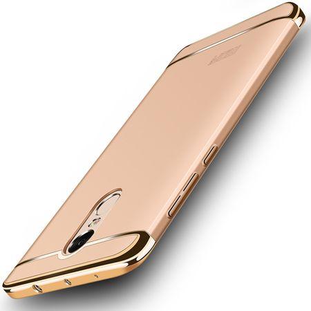 Handy Hülle Schutz Case für Xiaomi Redmi Note 4X Bumper 3 in 1 Cover Chrom Gold – Bild 1