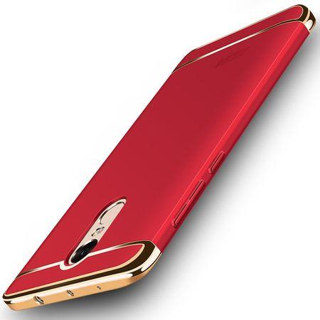Handy Hülle Schutz Case für Xiaomi Redmi Note 4X Bumper 3 in 1 Cover Chrom Rot – Bild 1