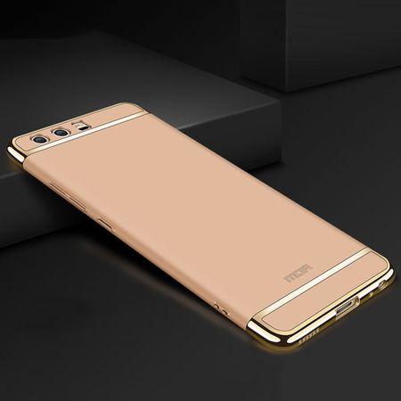 Handy Hülle Schutz Case für Huawei P9 Bumper 3 in 1 Cover Chrom Etui Schale Gold
