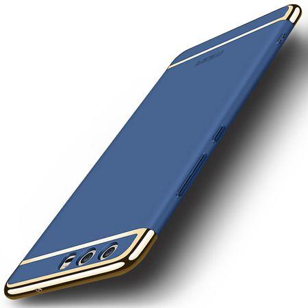 Handy Hülle Schutz Case für Huawei P9 Bumper 3 in 1 Cover Chrom Etui Schale Blau