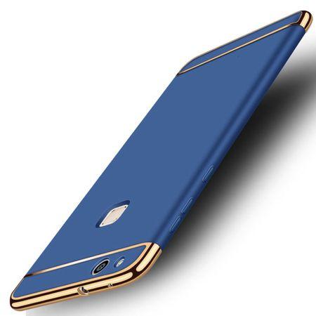 Handy Hülle Schutz Case für Huawei P9 Lite Bumper 3 in 1 Cover Chrom Etui Blau