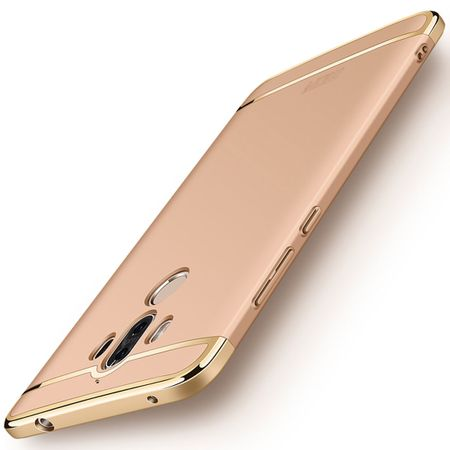 Handy Hülle Schutz Case für Huawei Mate 9 Bumper 3 in 1 Cover Chrom Etui Gold