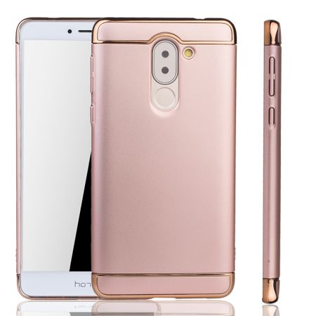 Handy Hülle Schutz Case für Huawei Honor 6X Bumper 3 in 1 Cover Chrom Rose Gold