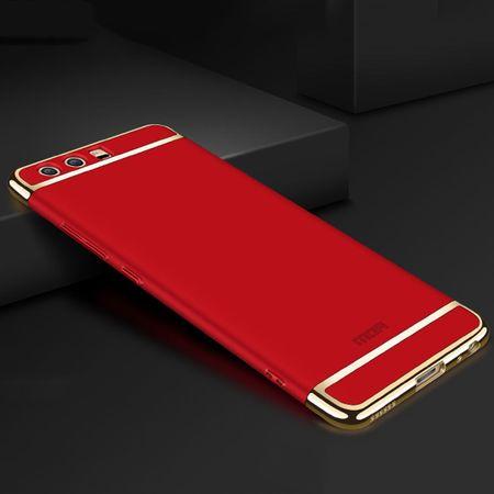 Handy Hülle Schutz Case für Huawei P10 Bumper 3 in 1 Cover Chrom Etui Schale Rot