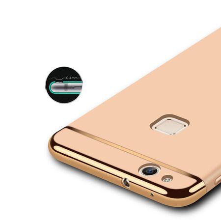 Handy Hülle Schutz Case für Huawei P10 Lite Bumper 3 in 1 Cover Chrom Rose Gold – Bild 3