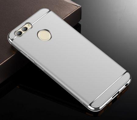 Handy Hülle Schutz Case für Huawei Y3 2017 Bumper 3 in 1 Cover Chrom Etui Silber – Bild 2