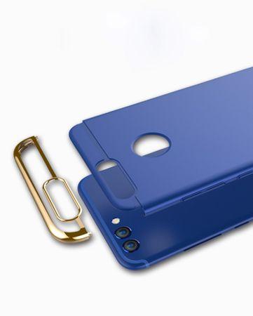 Handy Hülle Schutz Case für Huawei Y3 2017 Bumper 3 in 1 Cover Chrom Etui Blau – Bild 5