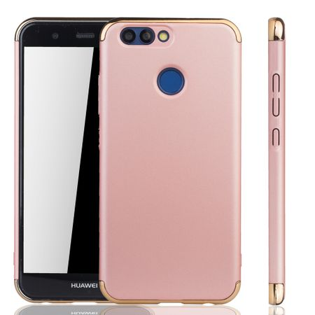 Handy Hülle Schutz Case für Huawei Nova 2 Bumper 3 in 1 Cover Chrom Rose Gold