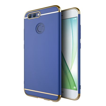 Handy Hülle Schutz Case für Huawei Nova 2 Bumper 3 in 1 Cover Chrom Etui Blau