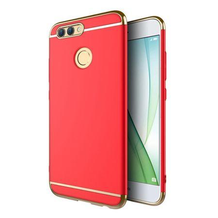 Handy Hülle Schutz Case für Huawei Nova 2 Bumper 3 in 1 Cover Chrom Etui Rot