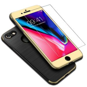 Apple iPhone 8 2 in 1 Handyhülle 360 Grad Full Cover Case Gold