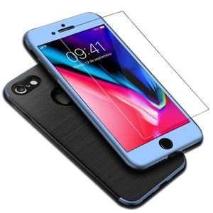 Apple iPhone 8 2 in 1 Handyhülle 360 Grad Full Cover Case Blau