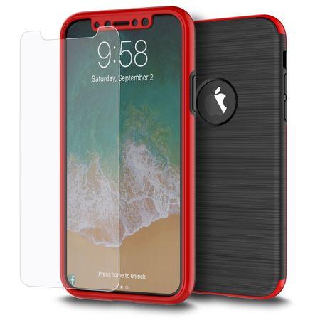 Apple iPhone X 2 in 1 Handyhülle 360 Grad Full Cover Case Rot – Bild 1