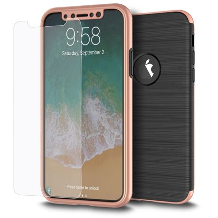 Apple iPhone X 2 in 1 Handyhülle 360 Grad Full Cover Case Pink