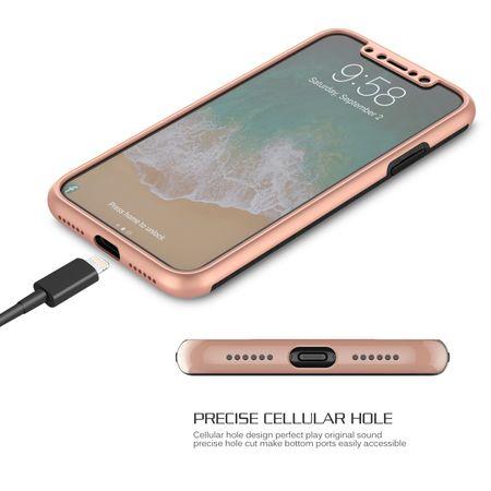 Apple iPhone X 2 in 1 Handyhülle 360 Grad Full Cover Case Pink – Bild 4