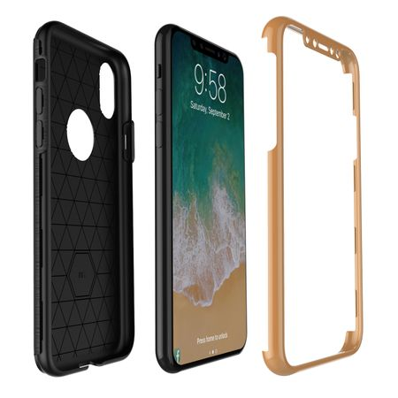 Apple iPhone X 2 in 1 Handyhülle 360 Grad Full Cover Case Pink – Bild 7