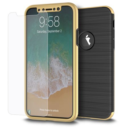 Apple iPhone X 2 in 1 Handyhülle 360 Grad Full Cover Case Gold