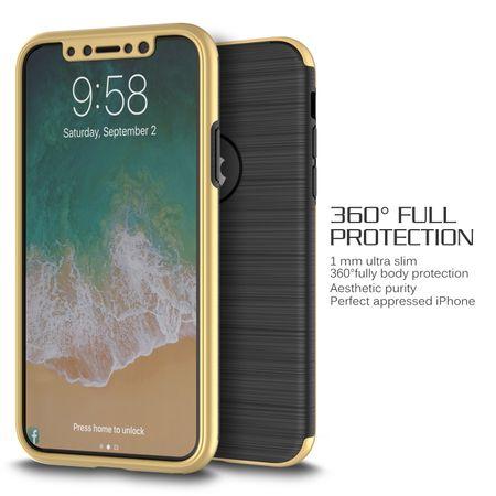 Apple iPhone X 2 in 1 Handyhülle 360 Grad Full Cover Case Gold – Bild 2