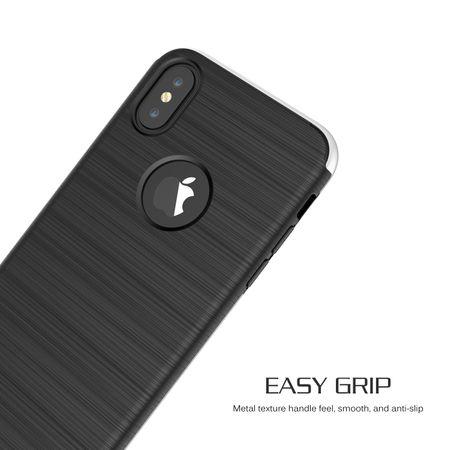 Apple iPhone X 2 in 1 Handyhülle 360 Grad Full Cover Case Silber – Bild 3