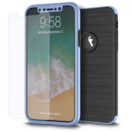 Apple iPhone X 2 in 1 Handyhülle 360 Grad Full Cover Case Blau