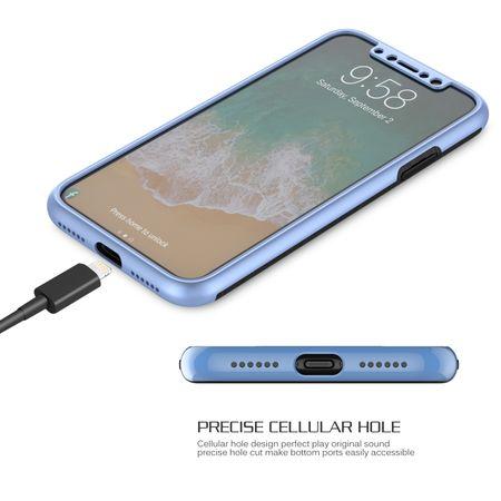 Apple iPhone X 2 in 1 Handyhülle 360 Grad Full Cover Case Blau – Bild 4