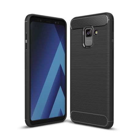 Samsung Galaxy A8 2018 TPU Case Carbon Fiber Optik Brushed Schutz Hülle Schwarz
