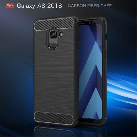 Samsung Galaxy A8 2018 TPU Case Carbon Fiber Optik Brushed Schutz Hülle Schwarz – Bild 3