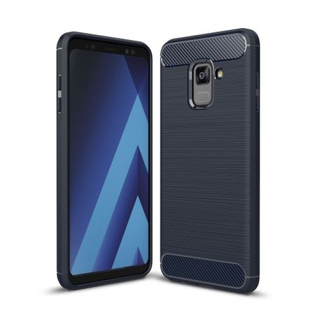 Samsung Galaxy A8 2018 TPU Case Carbon Fiber Optik Brushed Schutz Hülle Blau – Bild 1