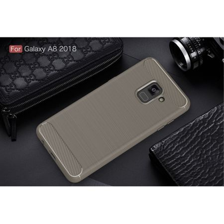 Samsung Galaxy A8 2018 TPU Case Carbon Fiber Optik Brushed Schutz Hülle Grau – Bild 2