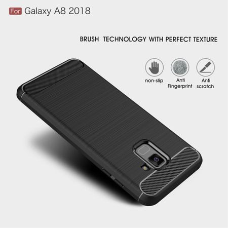 Samsung Galaxy A8 2018 TPU Case Carbon Fiber Optik Brushed Schutz Hülle Grau – Bild 3