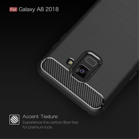 Samsung Galaxy A8 2018 TPU Case Carbon Fiber Optik Brushed Schutz Hülle Grau – Bild 4