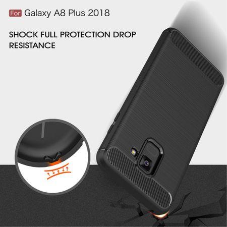 Samsung Galaxy A8+ 2018 TPU Case Carbon Fiber Optik Brushed Schutz Hülle Blau – Bild 8