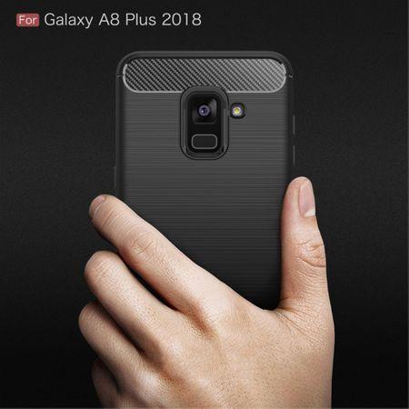 Samsung Galaxy A8+ 2018 TPU Case Carbon Fiber Optik Brushed Schutz Hülle Blau – Bild 9