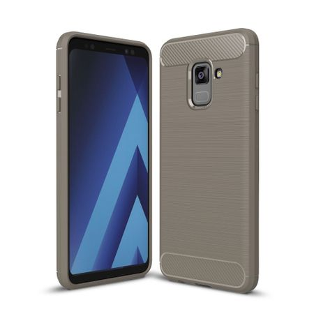 Samsung Galaxy A8+ 2018 TPU Case Carbon Fiber Optik Brushed Schutz Hülle Grau