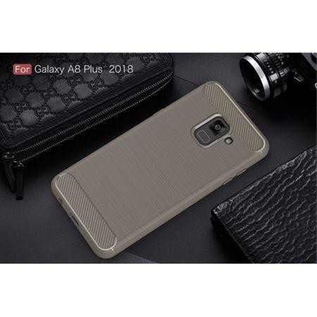 Samsung Galaxy A8+ 2018 TPU Case Carbon Fiber Optik Brushed Schutz Hülle Grau – Bild 2