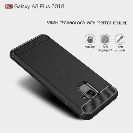 Samsung Galaxy A8+ 2018 TPU Case Carbon Fiber Optik Brushed Schutz Hülle Grau – Bild 3