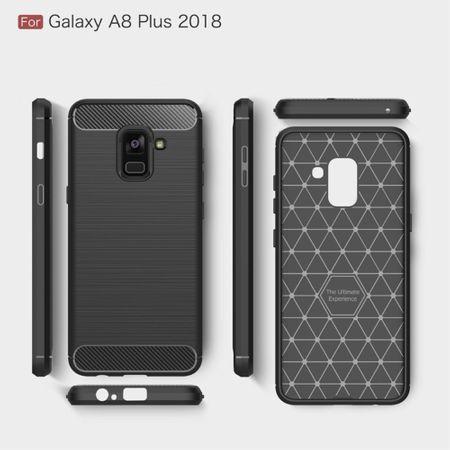 Samsung Galaxy A8+ 2018 TPU Case Carbon Fiber Optik Brushed Schutz Hülle Grau – Bild 8