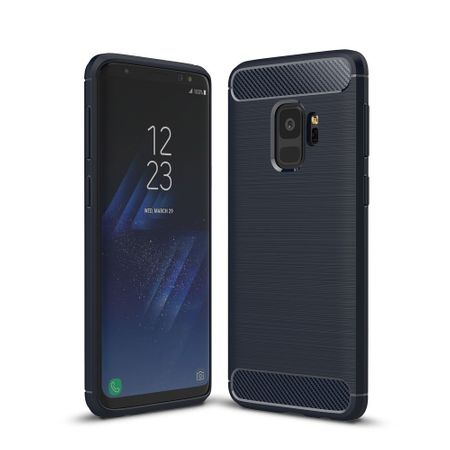 Samsung Galaxy S9 TPU Case Carbon Fiber Optik Brushed Schutz Hülle Blau