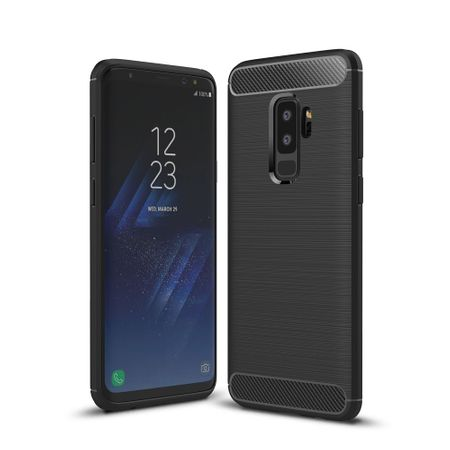 Samsung Galaxy S9+ TPU Case Carbon Fiber Optik Brushed Schutz Hülle Schwarz