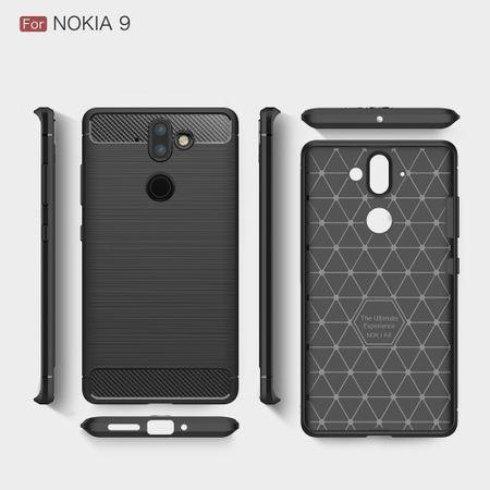 Nokia 9 TPU Case Carbon Fiber Optik Brushed Schutz Hülle Blau – Bild 6