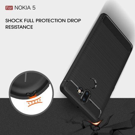 Nokia 9 TPU Case Carbon Fiber Optik Brushed Schutz Hülle Blau – Bild 8