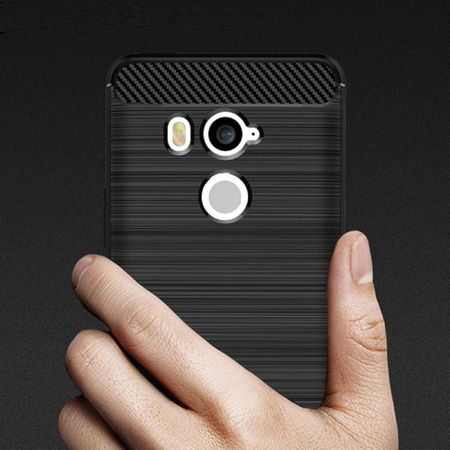 HTC U11+ TPU Case Carbon Fiber Optik Brushed Schutz Hülle Grau – Bild 5