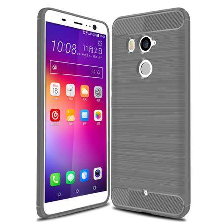 HTC U11 Life TPU Case Carbon Fiber Optik Brushed Schutz Hülle Grau – Bild 2