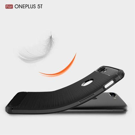 OnePlus 5T TPU Case Carbon Fiber Optik Brushed Schutz Hülle Blau – Bild 6