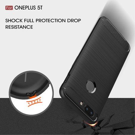 OnePlus 5T TPU Case Carbon Fiber Optik Brushed Schutz Hülle Grau – Bild 7