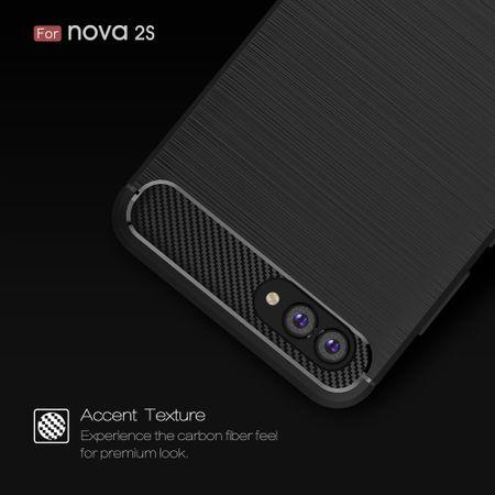 Huawei Nova 2s TPU Case Carbon Fiber Optik Brushed Schutz Hülle Grau – Bild 7