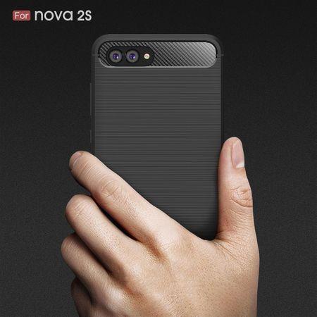Huawei Nova 2s TPU Case Carbon Fiber Optik Brushed Schutz Hülle Grau – Bild 9